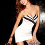 Womens Sexy Strapless Classic Black White Cocktail Party Tube Mini Dresses 4641