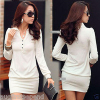Korea Womens Button V-neck Long Sleeve Slim Fitted Mini Dress Black White Cotton