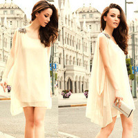 New Korea Womens Sleeveless Bead Chiffon Casual Mini Dress Summer Sundress 4455