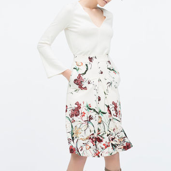 Front pleat printed skirt