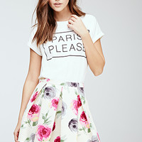 Pleated Watercolor Floral Skirt