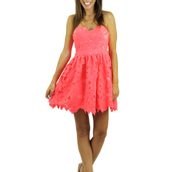 Neon Coral Crochet Short Dress