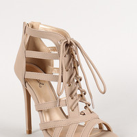 Qupid Nubuck Strappy Lace Up Open Toe Heel