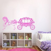 ik393 Wall Decal Sticker Room Decor Wall Art Mural fish horse carriage cinderella princess fairytale magic of children's bedroom