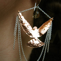 Bird of flight  earrings- Hand forged Hummingbird chandelier earrings with sterling silver chain