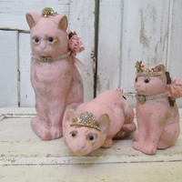 Pink and gold cat statue stone grouping shabby cottage large vintage cement cats rare unique home decor anita spero design