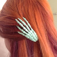 Pair of Mint Green Skeleton Hand Hair Clips Punk Halloween Punk Scary Rockabilly Psychobilly