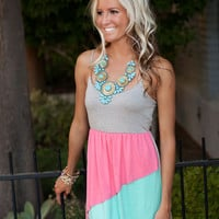 Tres Colored Pink Color Block  Dress
