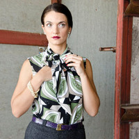Vintage Inspired Bow Blouse with Retro Patterned Fabric, Green Black White Sleeveless Shirt