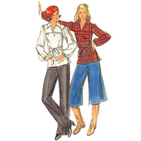 Vintage 70s Sewing Pattern Culottes Tunic Blouse Pants Uncut 34 Medium