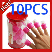 10x Wearable Nail Art Soakers Acrylic Tips Polish Remover Removal Cap Tool Pink