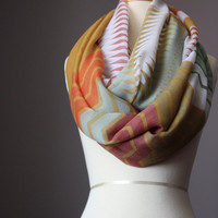 Infinity Scarf   light loop tube circle multicolored oversized zig zag sage sand orange