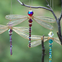 Suncatcher  Dragonfly- Birthstones &amp; 28 More Swarovski Colors - Gold Toned Small Dazzlefly
