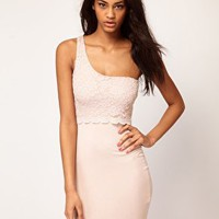 ASOS One Shoulder Dress With Lace Top at asos.com
