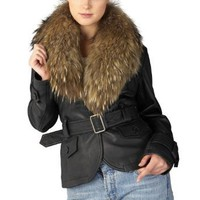 Jessie G. Women`s Belted Lambskin Leather Jacket with Raccoon Fur Collar $299.99