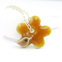 Itsy Bitsy Bird on Flower Necklace - Fine Silver & Enamel