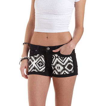 Aztec-Patched Low Rise Denim Shorts by Charlotte Russe - Black/White