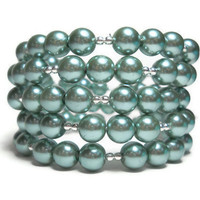Memory Wire Bracelet Mint Green Pearl Beaded Wrap Bracelet