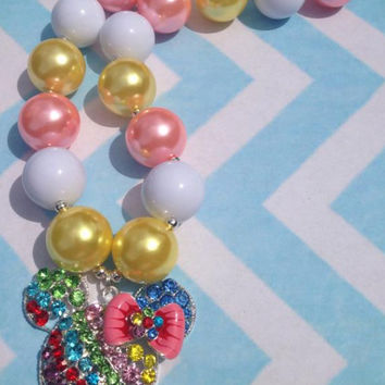 Rainbow Minnie mouse inspired chunky bubblegum bead necklace