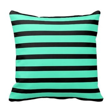 Mint and Black Stripes - Throw Pillow