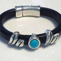 Black Leather Bracelet with Turquoise and Leaf Design