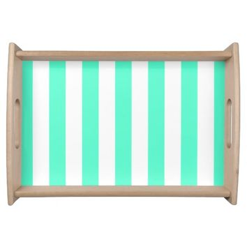 Mint and White Stripes - Serving Tray