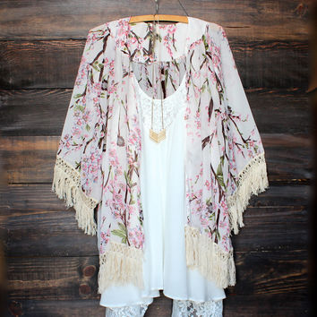 sheer floral printed kimono fringe jacket women's clothing spring summer beach cover up vacation break outfits free spirit urban chic gypsy