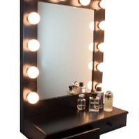 Hollywood D-luxe Vanity Mirror With Drawers by Impressions Vanity Black