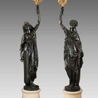 Carrier-Belleuse, Pair of French Torchères 'Night' and 'Day', Late 19th Century