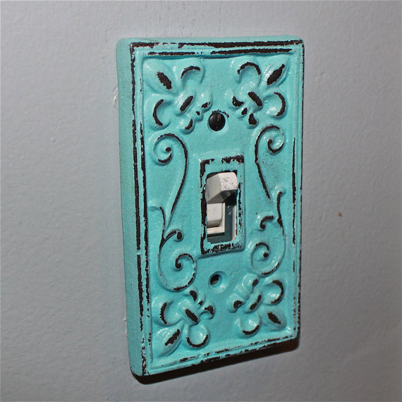 Aqua decorative light switch plate from aquaxpressions on etsy - Wrought iron switch plate covers ...