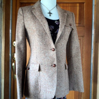 "70s Jacket Vintage  Wool Tweed Blazer 34"" Bust"
