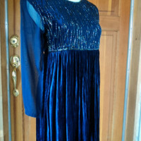 "Vintage 80s Beaded Dress Crushed Velvet Crinkle Empire Babydoll Party INDIA 32""B"