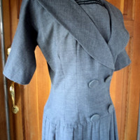 Vintage 50s Nautical Dress with Box Pleats Drop Waist Fabric Chambray SZ.15