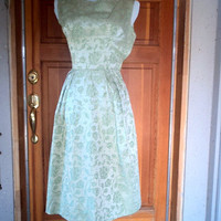 Vintage Dress 50s 60s Sage Green Floral BROCADE Cocktail Party Prom Bow xs 32B
