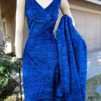 Vintage Dress/Tunic 60s KILLER Royal Blue Metallic Bombshell Pant Suit Jacket VLV 36B Lilli Diamond
