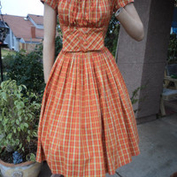 Vintage Dress 60s Country Girl Plaid Peasant Picnic Full Swing Skirt Big Bow 38B