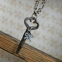 Key Necklace with Bow by reinvintagejewelry on Etsy