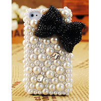 FREE SHIPPING Apple iPhone 4S 4G Girly Black Bow Popular Pearl Crystal Back Case Cover Skin