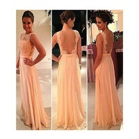 Sexy Backless Long Evening Party Ball Prom Gown Bridesmaid Dress
