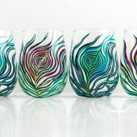 Peacock Stemless Wine Glasses-4 Piece Peacock Feather Collection by Glamfoxx