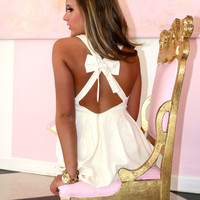 My Love Don't Cost A Thing Ivory Bow Back Dress