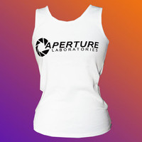 Aperture Labs logo white tank top  Chell Cosplay by Geekcessories