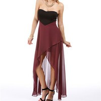 Pre-Order: Black/Burgundy Hi Lo Hem Dress