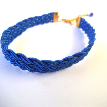 Blue Woven Bracelet with Gold Findings, Blue Jewelry, Royal Blue Jewelry, Greek Poly Braid Cord