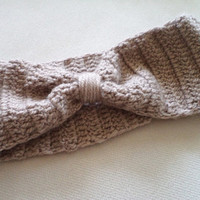 Khaki Hand Crocheted Headband, Wool Earwarmer, Women Accessories