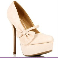 Pre-Order: Nude Mary Jane Bow Pump