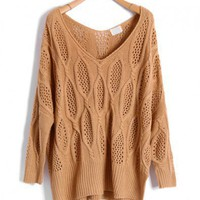 Khaki Diamond Knitted Sweaters with Batwing Sleeves