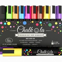 Premium Chalk Markers - Set of 10 neon color pen. Used on Chalkboards, Window, Labels, Bistros, Ceramic, Glass, Metal Surfaces, Whiteboards. Water based wet wipe ink pens - Fine tip, Odor Free, Writes Smoothly, Quick Dry, Washable Wet Erase paint marker, K