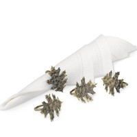 Oak Leaf Napkin Rings, Set of 4