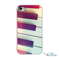 Piano Keys Music Black White iPhone Case - IPhone 4 and 4s Hard Cover - Fun Bright Art Unique Trendy iPhone Case Cover - artstudio54